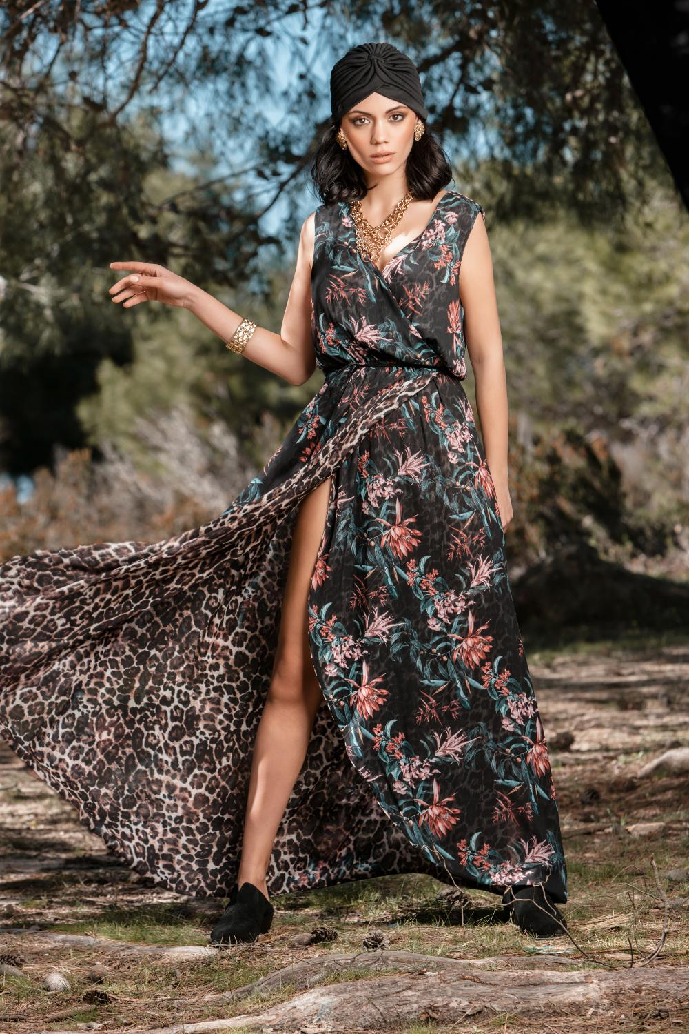 Sleeveless double faced maxi wrap dress
