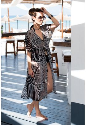 Crepe chiffon cover up with geometric black and white print