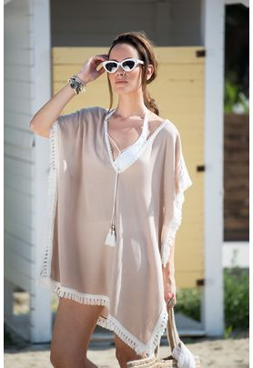Caftan 100% viscose in sand color with contrast off-white cotton lace fringe