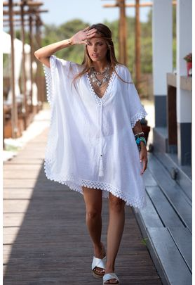 White basic cotton/viscose caftan with cotton lace