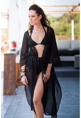 Black chiffon cover up with gold metallic rings and belt