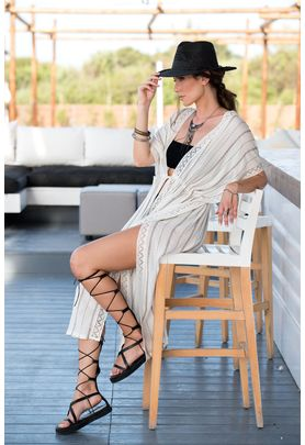 Maxi viscose broiderie cover up in off-white / sand combination