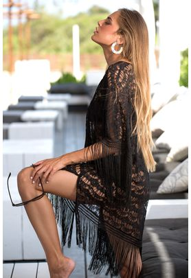 Black lace cover up with fringes