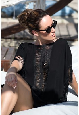 Black short caftan with fringes