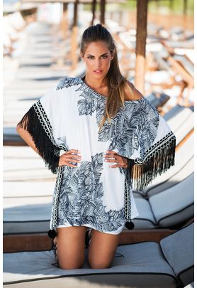 Black and white viscose caftan with ethnic print and fringes on sleeves