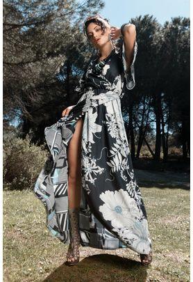 Double faced maxi wrap dress