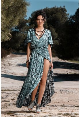 Double faced maxi wrap dress