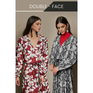 Double-sided maxi wrap dress with long sleeves
