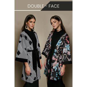 Double-sided printed short kimono