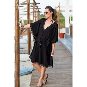 Black caftan/dress with gold metallic rings and suede belt