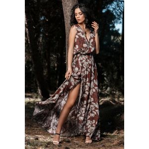 Sleeveless double faced maxi wrap dress